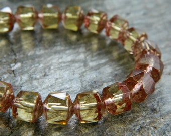 CATHEDRAL Beads, Czech Glass Beads, Fire Polished Faceted  Beads, 8mm Transparent Light Topaz & Bronze edging (20pcs)