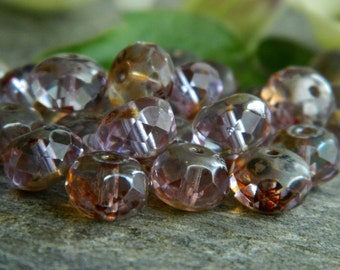 Picasso Czech Glass Beads Fire Polished Faceted Rondelles Spacers 6X9mm Light Lilac& Classic Brown Picasso (20pcs) NEW