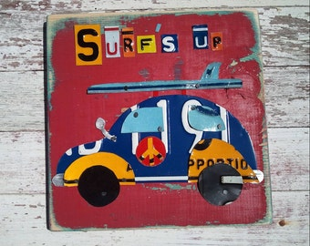 Surf's up Bright Red Blue VW BUG Car Surfboard Surfer Beach Nursery Boy Word Block Sign Custom Funky States License Plate Art Recycled
