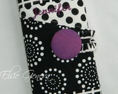 Black & White Cosmetic / Make-Up or Crochet Hook Case Organizer Zipper Pocket Accent with Purple Green Red Pink Blue Aqua