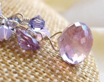 Light amethyst faceted onion briolette pendant necklace on sterling silver chain