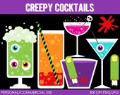 Creepy Cocktails Clipart - Digital Clip Art Graphics for Personal or Commercial Use