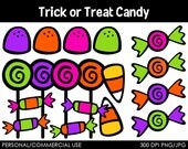 Trick or Treat Candy Clipart - Digital Clip Art Graphics for Personal or Commercial Use