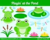 Playin' at the Pond Clipart - Digital Clip Art Graphics for Personal or Commercial Use