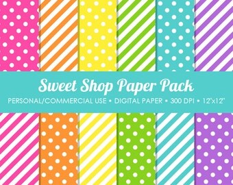 Sweet Shop Digital Printable Paper Pack - For Commercial or Personal Use