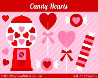 Candy Hearts Clipart - Digital Clip Art Graphics for Personal or Commercial Use