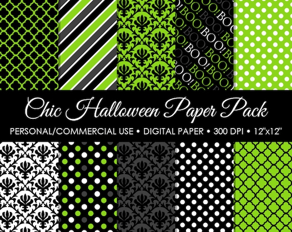 Green Chic Halloween Digital Printable Paper Pack - For Commercial or Personal
