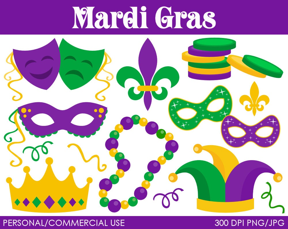 Mardi Gras Clipart Digital Clip Art Graphics for by MareeTruelove