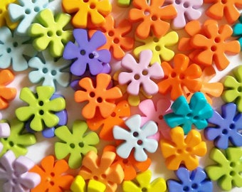 25 pcs Cute flower  button 2 hole  Mix color size 15mm