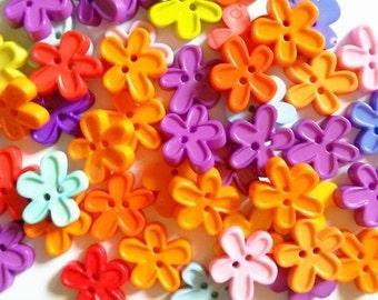 25 pcs Cute flower  button 2 hole  Mix color size 15x 16 mm