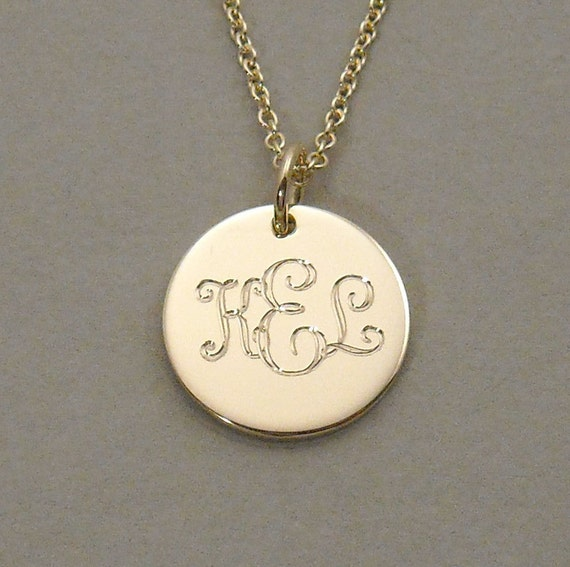 Items similar to personalized initial gold disc necklace items similar to 14ky gold engraved monogram pendant necklace triple initial 12 inch round mozeypictures Image collections