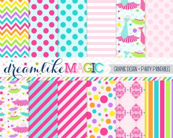 Tutus and Ties Girly Stripes Polkadots Damask and Chevron- Digital Paper Pack for Personal or Commercial Use
