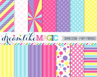 Carnival Carousel Pastels- Digital Paper Pack for Personal or Commercial Use
