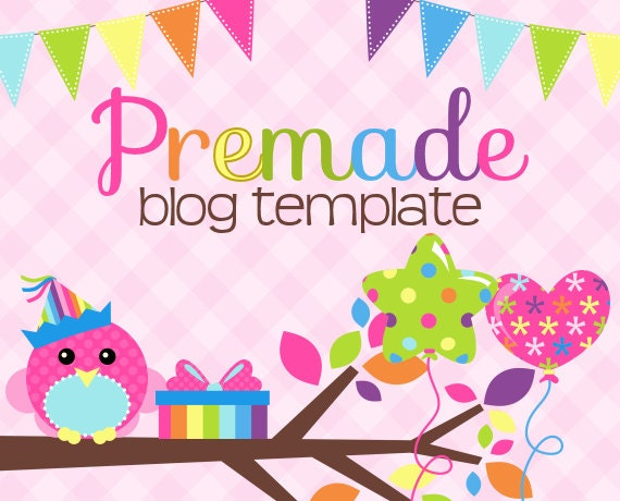 Blogger Template- Sweet Pink Party Peep Design