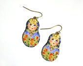 Mini matryoshka earrings - blue tones fabric and red little flowers - made to order