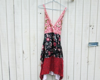 Upcycled Dress, Burgundy, Wine,Tank Dress, Reclaimed Dress, Summer Dress, Floral Tunic, Lace Tank, Sprint Tunic, Bohemian Dress