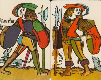 Vintage Playing Cards Reproduction of playing cards from 1440 AD antique illustrations paper ephemera collage paper crafts 4 ea of 2 designs