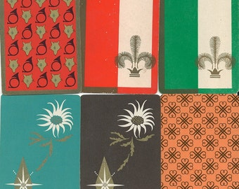 Vintage Playing Cards Retro Atomic Mid Century paper ephemera for scrapbooking collage altered art paper Crafts 2 each of 6 designs