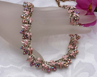 Coro pink enamel and AB rhinestone Necklace and Earrings