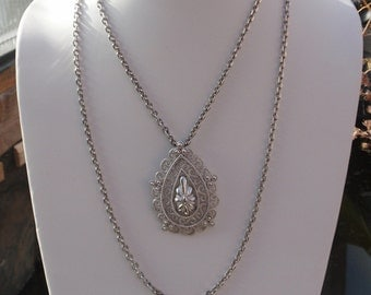 Trifari Silver Teardrop Filigree Pendant with double chain