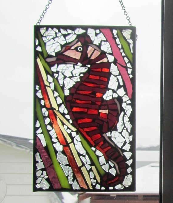 Stained glass Mosaic, Seahorse ,   Stained Glass SunCatcher or wall Decoration