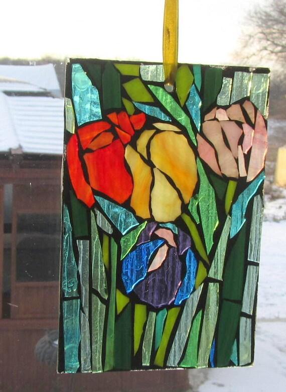 Mosaic, PERFECT, BEAUTIFUL TULIPS,.waLL Art Panel, window panel, suncatcher
