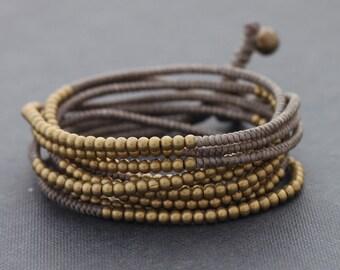 Taupe Beaded Wrap Bracelet