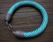 Turquoise and silver polymer clay bangle bracelet