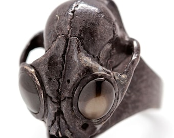Black Gem Set Eyed Bobcat Wild Cat Skull Ring in Sterling Silver any size