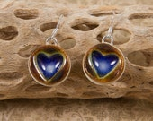 Handmade Pottery Earrings, Blue and Coffee Colored Dangle Heart Earrings