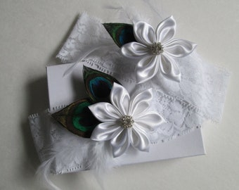 Peacock Wedding Garter Set, White Lace Garters, White Lace Bridal Garters with Kanzashi & Feathers, Rustic- Vintage- Country Bride