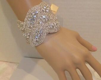Bridal Bracelet, CHARLOTTE, Crystal Bridal Cuff, Rhinestone Bridal Bracelet, Rhinestone Bracelet, Bridesmaid Bracelet