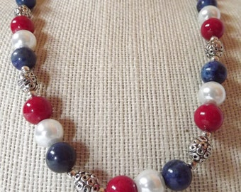 SALE/Lapis, Pearl and Jade Necklace Set
