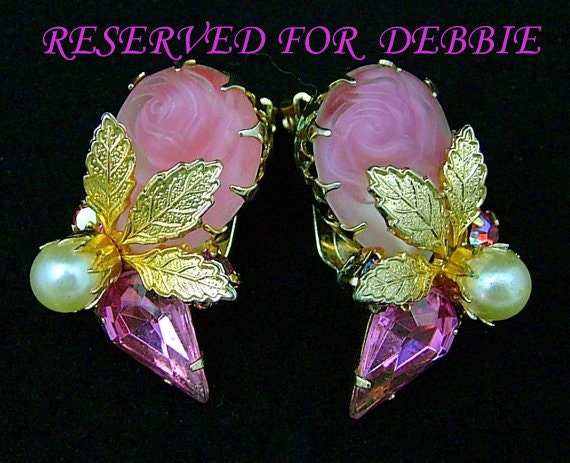RESERVED FOR DEBBIE Vintage Earrings Pink Molded Glass Rose and Rhinestone Clip On