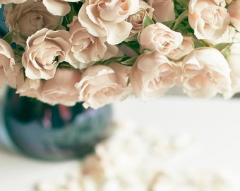 Pastel Flower Photography, Beige, Blue, Roses, Girl Nursery Decor, Vertical Neutral Wall Art