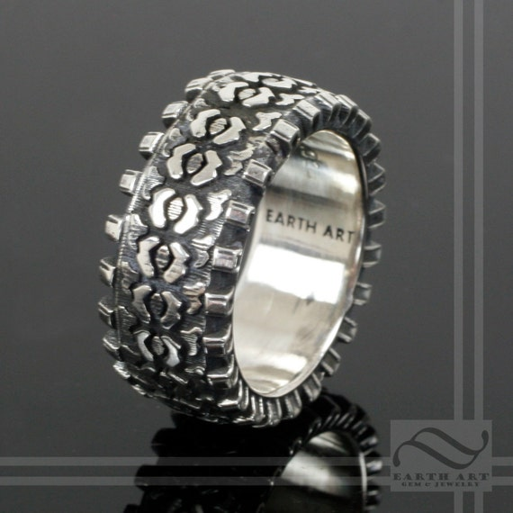 detailed sterling silver truck tire tread ring - Mud Tire Wedding Rings