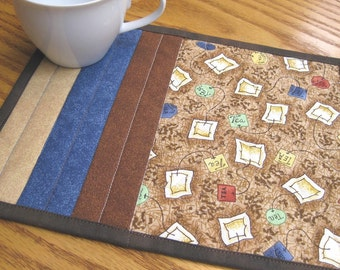 Tea Mug Rug Quilted Handmade Cotton Fabric Patchwork Snack Trivet Gift Idea For Her 2 Set