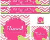 Premade Etsy Shop Set, Chic Banner Set, Premade Avatar, Store Banners, Chevron Banners, PInk Green Bird Banners