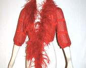 LANVIN Paris Vintage Silk Feather Bolero Red Burnout Marabou Blouse - AUTHENTIC -