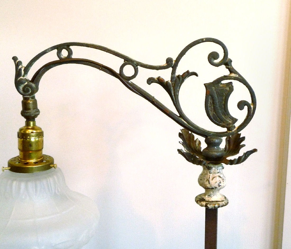 Vintage Metal Bridge Floor Lamp 1920s Deco Shabby Cozy Cottage