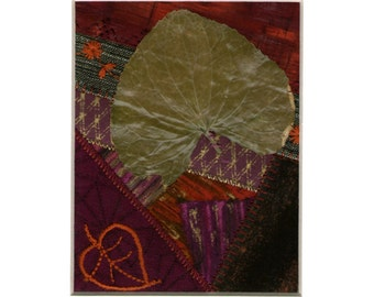 Embroidered and Real Leaf Mini Crazy Quilt Textile Art - Matted Ready to frame