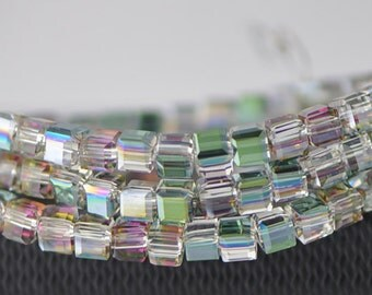 95pcs Cube Glass Crystal Beads Faceted 4mm Green Rose -FZ0401