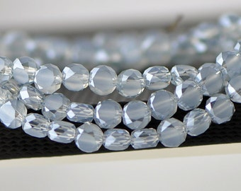 Faceted Rondelle Frosted Crystal Glass beads 6mm Blue Grey Matte -(MB06-6)/ 70pcs