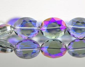 33pcs Faceted oval crystal glass beads sparkle blue purple 20mm- (TS03-5)