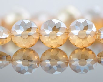 Crystal Faceted Rondelle Glass Coin beads 14mm Matte Champagne -(TS59-5)/ 50pcs