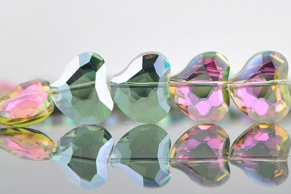 38pcs Crystal Glass Heart Faceted Beads 19mm Unique Sparkly Green Rose (TS43-3)