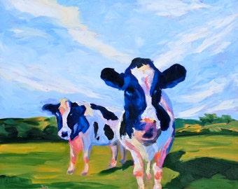 Fine Art Print - Cows - Original Artwork by Rebecca Croft - Many Sizes