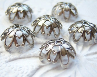 Antique silver ox 12mm filigree bead caps, lot of (6) - BD199