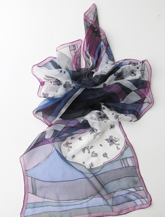 Hand dyed white silk scarf with black violet and blue flowers on chiffon - hand painted scarves - wearable art painted 18x72