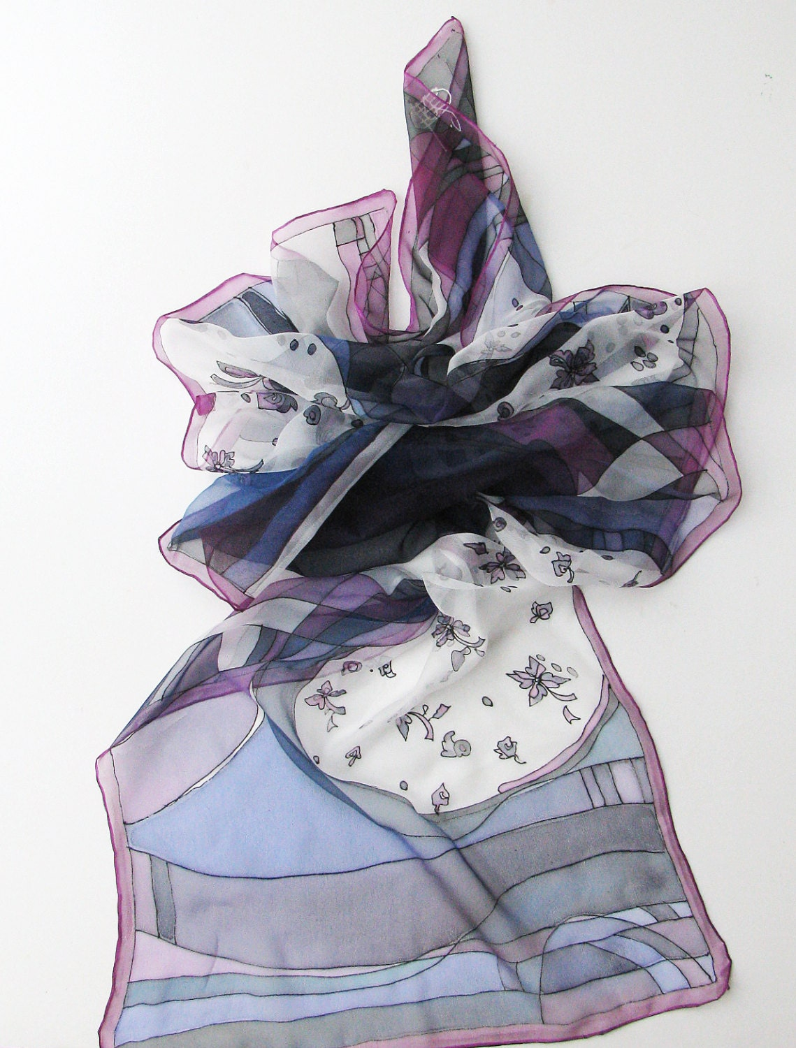 dyed white silk scarf with black violet and blue by